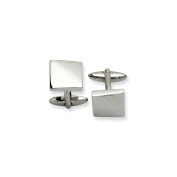 Men's Stainless Steel Polished Cuff Links - Engravable Personalised Gift Item