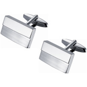 Visol Rhodium-plated Stainless Steel Twin Shade Polished and Brushed Rectangular Cufflinks