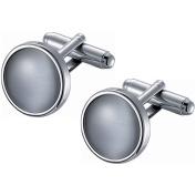 Visol Stainless Steel Round Grey Catseye Cufflinks
