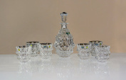 'Bohemia 24% Lead Crystal Decanter and 6 Glasses Cross Stitch Kit, Fortune, New in Original Packaging