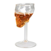 """'Wine/Champagne Party Glass Champagne – """"Skull and Crossbones Design Approx. 75 ml – Skull Wine Glass for House Bar & Party Grin Card"""