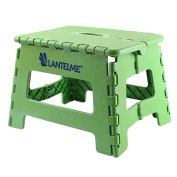 Lantelme 6775 Folding stool in green - Universal stool made of plastic - Foldable as a children's step stool or as a stool