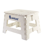 Lantelme 6776 Folding stool in white - Universal stool made of plastic - Foldable as a children's step stool or as a stool