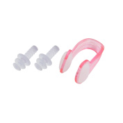 Unique BargainsClear Pink Swimming Protector Silicone Nose Clip Earplugs Set