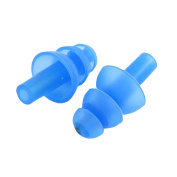 Unique BargainsSwimming Silicone Tree Shaped Flexible Ear Protector Earplug Blue Pair