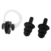 Pair Soft Silicone Swimming Protection Nose Clip Earplug Black