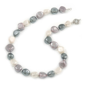 15mm Contemporary Simulated Pastel Off Round Glass Pearl Bead Necklace with Silver Tone Spring Ring Closure - 43cm L