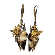 Peanut Jasper Gemstone 925 Sterling Silver Black Rhodium Gold Plated Trendsetting Earring For Girls FSJ-235