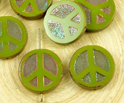 4pcs Olive Green Apricot Ab Lustre Peace Sign Love Tree Of Life Charm Pendant Coin Flat Round Table Cut Window Czech Glass Beads 15mm