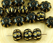 8pcs Opaque Jet Black Matte Gold Patina Wash Squashed Melon Halloween Pumpkin Fruit Czech Glass Beads 11mm x 8mm