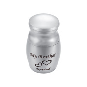 "Engraved ""My Brother My Friend"" Memorial Mini Heart Urn Pendant Necklace Ashes Keepsake Cremation Jewellery with Great Capability"