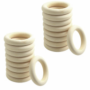 euhuton 20 Pcs 55mm Natural Wood Rings Loop Rings for Crafting DIY Jewellery Making Craft Projects