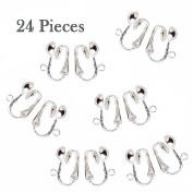 Silver Plated Clip on Earring Findings Standard Half Ball with Easy Open Loop For Easy Converting From Standard Ear Wires