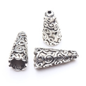 FENGLANG 50 pcs Tibetan Antique Silver Cone Bead Caps End Beads Findings U Pick Style