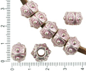 4pcs Antique Silver Tone Pink Patina Wash Large Hole Drum European Pandora Style Dotted Charms Beads Bohemian Metal Findings 7mm x 11mm