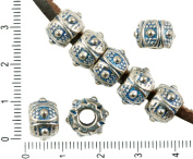 4pcs Antique Silver Tone Blue Patina Wash Large Hole Drum European Pandora Style Dotted Charms Beads Bohemian Metal Findings 7mm x 11mm