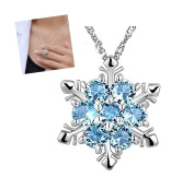 Wicemoon Clavicle Necklace Set Imitation Sapphire Crystal Snowflake Jewellery Necklace Pendant