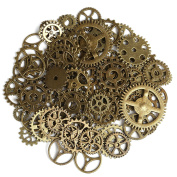 Naler 80pcs Antique Gears Wheels Skeleton Steampunk Pendant Charms Clock Watch Gears Wheels for DIY Crafts, Jewellery Making, Cosplay Costume Accessories Bronze