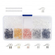 Naler Earring Hooks Ear Wires Fish Hooks + 200pcs Rubber Earring Backs with Assorted Box for DIY Jewellery Finding Craft Jewellery Making 180pcs