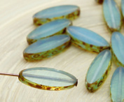 6pcs Picasso Brown Blue Opal Flat Oval Petal Window Table Cut Czech Glass Beads 6mm x 16mm