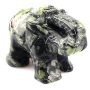 Carved Healing Crystal Guardian Elephant Pocket GemStone Figurines 5.1cm
