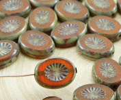 8pcs Picasso Amber Yellow Opal Window Table Cut Flat Kiwi Oval Czech Glass Beads 10mm x 14mm