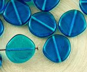 6pcs Crystal Capri Blue Clear Flat Round 8Edge Coin Czech Glass Beads 15mm