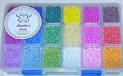 Berties Beads 18 different colours of boxed 4mm glass seed beads 6/0
