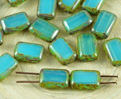 8pcs Picasso Brown Aquamarine Blue Opal Table Cut Flat 2 Two Hole Rectangle Czech Glass Beads 8mm x 12mm