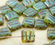 12pcs Picasso Brown Aquamarine Blue Opal Window Table Cut Carved Flat Square Czech Glass Beads 10mm