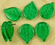 10pcs Crystal Green Large Flat Leaf Czech Glass Carved Beads 18mm x 13mm