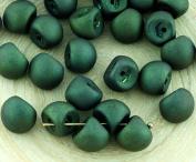 12pcs Metallic Matte Bronze Brown Lustre Large Mushroom Button Czech Glass Beads 9mm x 8mm