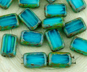 8pcs Picasso Brown Crystal Turquoise Aqua Blue Moonstone Moonlight Opal Table Cut Flat 2 Two Hole Rectangle Czech Glass Beads 8mm x 12mm