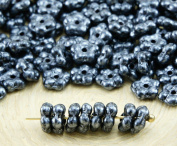 80pcs Opaque Jet Black Metallic Silver Grey Patina Marble Lustre Small Flat Forget-Me-Not Flower Spacer Bead Caps Czech Glass Beads 5mm