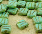 12pcs Picasso Brown Opaque Light Turquoise Green Window Table Cut Carved Flat Square Czech Glass Beads 10mm