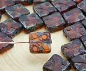 6pcs Smoke Topaz Picasso Window Table Cut Flat Square Czech Glass Beads 10mm