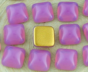 6pcs Crystal Rose Pink Opal Gold Square Czech Glass Cabochon 10mm x 10mm