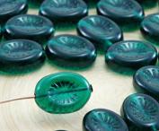 8pcs Crystal Green Oval Flat Carved Kiwi Flower Czech Glass Beads 12mm x 14mm