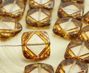 4pcs Picasso Crystal Brown Yellow Flat Carved Square Window Table Cut Czech Glass Beads 15mm