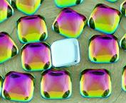 6pcs Crystal Dichroic Vitrail Pink Green Square Czech Glass Cabochon 10mm x 10mm