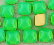 6pcs Opal Aquamarine Green Turquoise Square Czech Glass Cabochon 10mm x 10mm