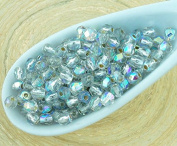 100pcs Crystal Silver Lined Ab Half Round Faceted Fire Polished Small Spacer Czech Glass Beads 3mm