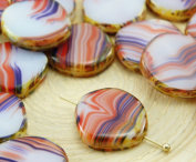 4pcs Picasso Brown Agate Red Blue White Mix Flat Round 8Edge Window Table Cut Coin Czech Glass Beads 15mm