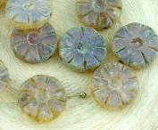 8pcs Picasso Matte Purple Opal Rustic Table Cut Flower Flat Coin Czech Glass Beads 12mm