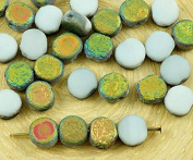 80pcs Matte Crystal Metallic Dichroic Vitrail Green Pink Half Rough Rustic Etched Frosted Flat Round Disc Disc Table Czech Glass Beads 6mm