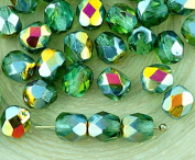 40pcs Crystal Light Peridot Chrysolite Green Clear Metallic Sunset Bronze Half Round Faceted Fire Polished Spacer Czech Glass Beads 6mm