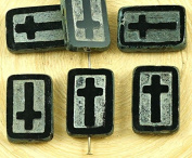 4pcs Picasso Jet Black Silver Wash Rectangle Flat Window Table Cut Cross Religious Christian Rosary Crucifix Czech Glass Beads 11mm x 17mm