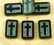 4pcs Black Ab Rectangle Flat Table Cut Window Cross Religious Christian Rosary Crucifix Czech Glass Beads 11mm x 17mm