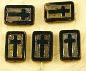 2pcs Metallic Light Bronze Lustre Rectangle Flat Window Table Cut Cross Religious Christian Rosary Crucifix Czech Glass Beads 11mm x 17mm