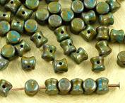 60pcs Picasso Brown Opaque Blue PRECIOSA Pellet Diablo Dogbone Czech Glass Beads 4mm x 6mm